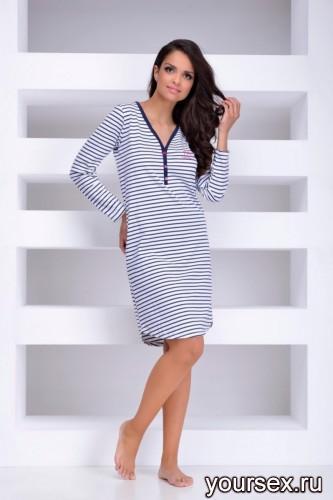 Синяя с белым сорочка Tamara XL