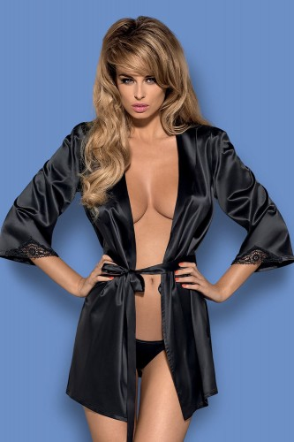 Пеньюар Obsessive Satinia robe Black, размер XXL