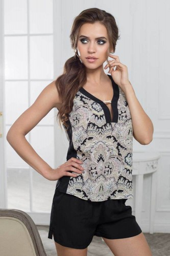 Пижама Mia-Mia Faberge, серо-черная S