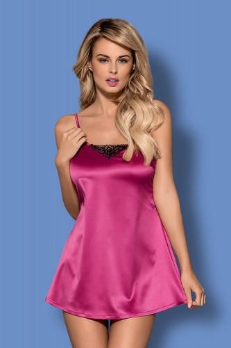Сорочка и Стринги Obsessive Satinia babydoll, размер L/XL, цвет розовый