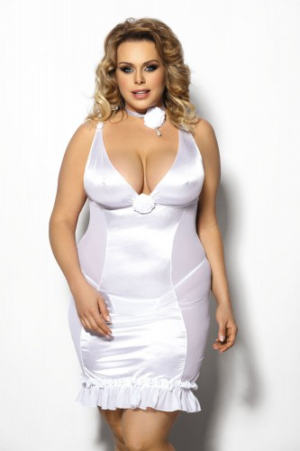 Сорочка и стринги Tanise, белая 3XL/4XL