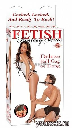 Кляп - Фаллоимитатор Deluxe Ball Gag With Dildo Black