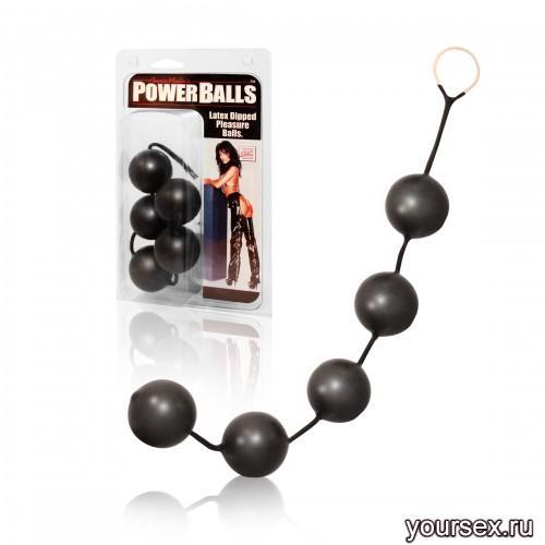 Анальные шарики California Exotic Novelties Power Balls, черный