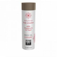 Съедобное масло для тела Shiatsu Luxury body oil Клубника и Красный перец, 75 мл