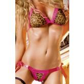 Леопардовый Комплект Бикини со Шнуровкой