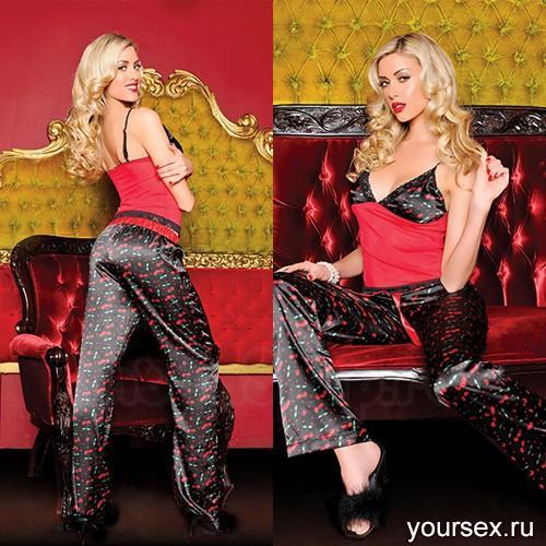 Секси-пижама штанишки и топ ВИШНЯ STM-30101P M