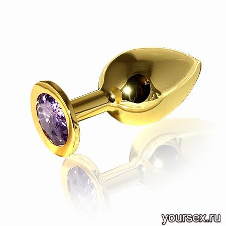 Анальная Пробка Butt Plug Gold Large Lavender