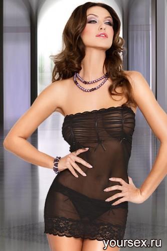 Сорочка и Стринги SoftLine, размер M/L, цвет черный