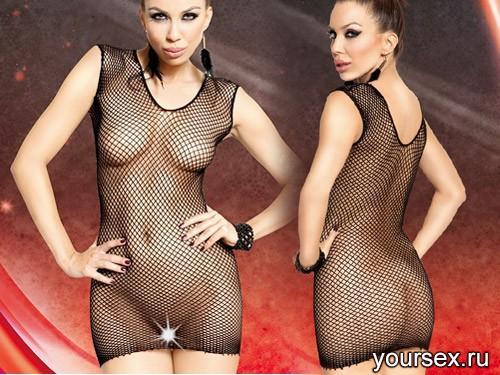 Прозрачное платье-сетка