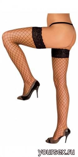 Чулки Черные в мелкую сетку Hold-Up Fishnet Stockings, M/L