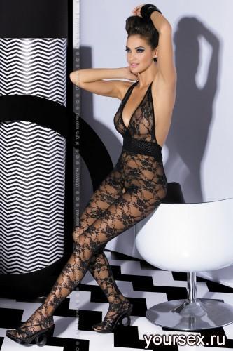 Чулок на тело Obsessive Вodystocking L400 размер S/M, цвет черный