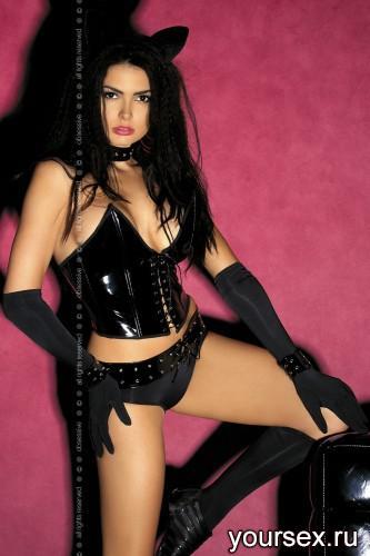 Комплект Obsessive Pussycat, размер S/M, цвет черный