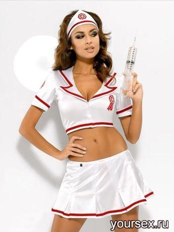 Медсестра Obsessive Emergency Skirty Set, размер S/M, цвет белый