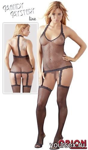 Набор женский:бюстье и чулки, цвет черный, размер S/M