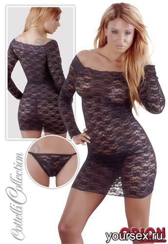 Набор женский: мини-платье и стринги, цвет черный, размер XL