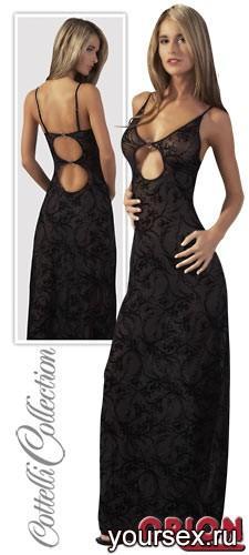 Платье женское длинное, цвет черный, размер XL