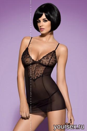 Сорочка и Стринги Obsessive Finesia, размер S/M, цвет черный