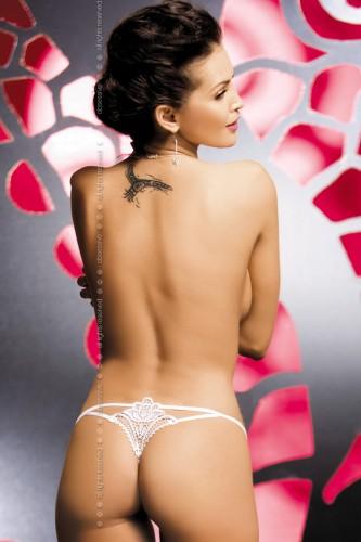 Стринги Obsessive Luiza Thong, размер S/M, цвет белый