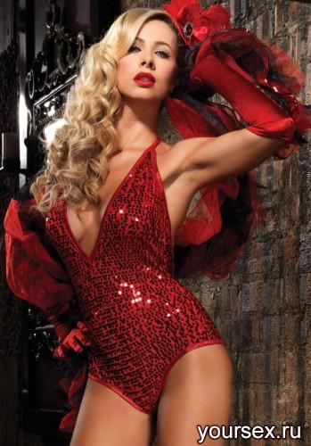 Боди Deep-V Sequin Halter Teddy, цвет красный, размер S