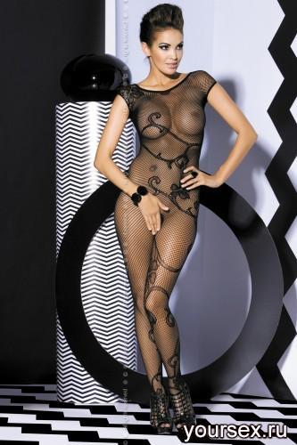 Чулок на тело Obsessive Вodystocking F201, размер S/M, цвет черный