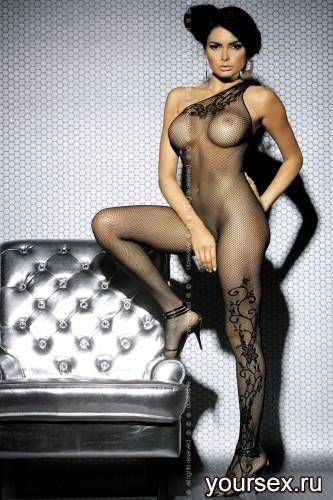 Чулок на тело Obsessive Вodystocking F203, размер S/M, цвет черный