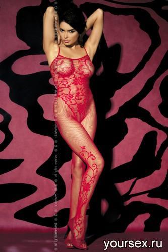 Чулок на тело Obsessive Вodystocking F205, размер S/M, цвет красный