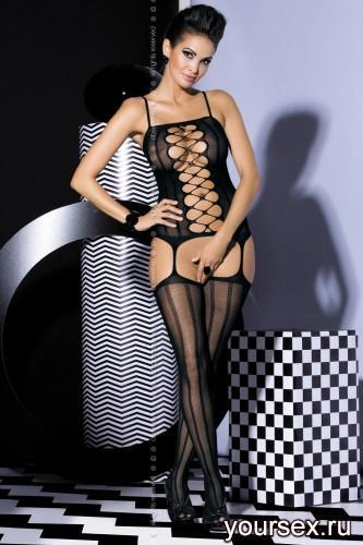 Чулок на тело Obsessive Вodystocking G300, размер S/M, цвет черный