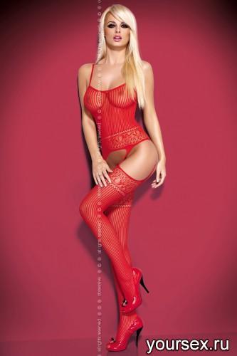 Чулок на тело Obsessive Вodystocking G307 размер S/M, цвет красный