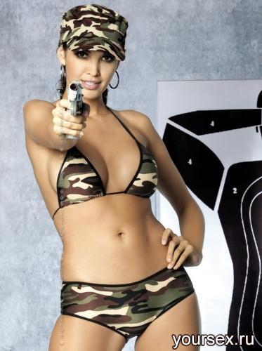 Комплект Obsessive Soldier Bikini,  размер S/M, цвет хаки