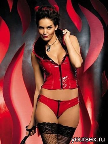 Корсет и Стринги Obsessive Devil, размер S/M, цвет красный