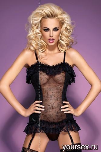 Корсет и Стринги Obsessive Ditta Corsetl, размер S/M, цвет черный
