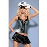 Костюм Obsessive Police Skirty, размер S/M, цвет черно-серый