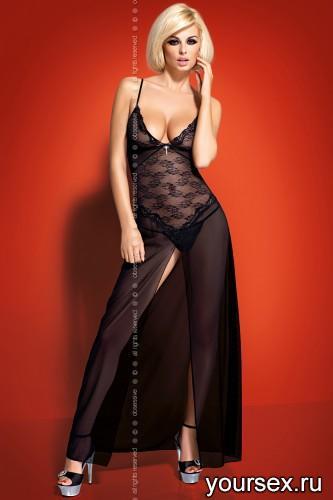Сорочка и Стринги Obsessive Charms govn, размер S/M, цвет черный
