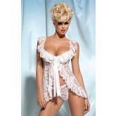 Сорочка и Стринги Obsessive Julia Babydoll, размер L/XL, цвет белый