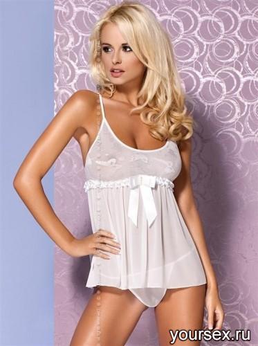 Сорочка и Стринги Obsessive Mistia Babydoll, размер L/XL, цвет белый