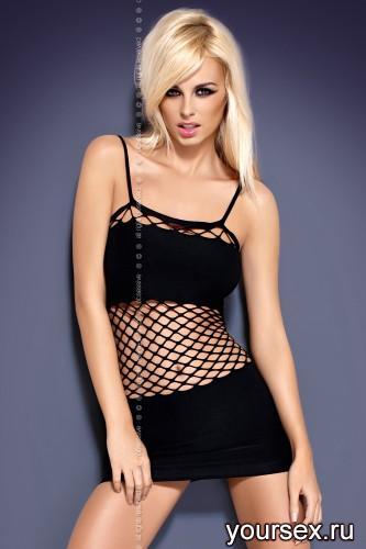 Сорочка и Стринги Obsessive Shakira, размер S/M, цвет черный