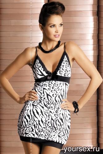 Сорочка и Стринги Obsessive Zebra Chemise, размер S/M, цвет чёрно-белый
