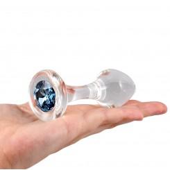 Анальная Пробка Стеклянная Crystal Delight Long Stem с кристаллом Swarovski - Blue