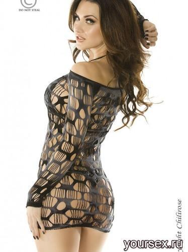 Сорочка в крупную сетку, размер S/M, цвет черно-серый
