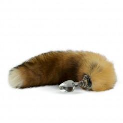 Анальная Пробка Стеклянная Crystal Delight Short Stem с Хвостом из натурального Меха Лисы, Canadian Red Fox