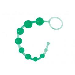 Анальные бусы Seven Creations на жесткой сцепке, зеленые