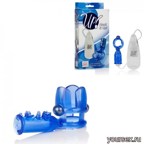 Эрекционное Кольцо с Вибрацией и Клиторальным Стимулятором синее
