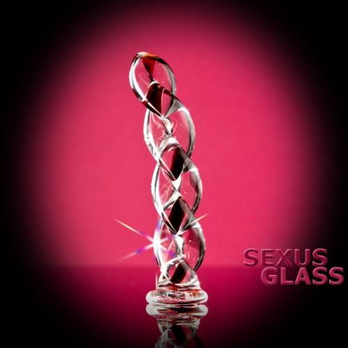 Фаллоимитатор Sexus Glass спиралевидный  - 18 см.