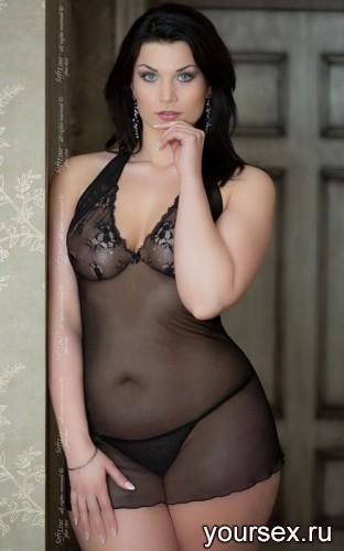 Ночная Сорочка и Стринги Soft Line Marilyn черные, XL