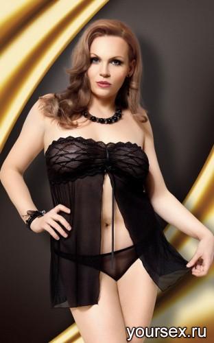 Ночная Сорочка и Стринги Soft Line Tanya черные, XL