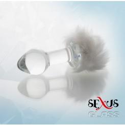 Втулка Анальная с Хвостиком, белая, 9.5 см