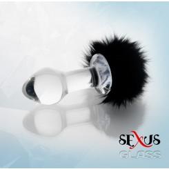 Втулка Анальная с Хвостиком, черная, 9.5 см