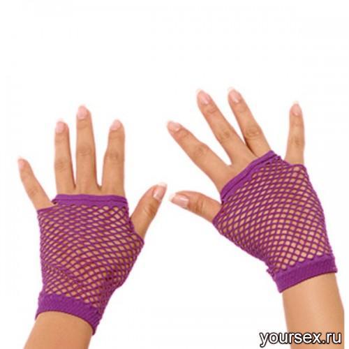 Митенки Electric Lingerie в сеточку фиолетовые, OS