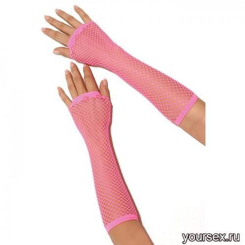 Перчатки Electric Lingerie в сеточку длинные розовые, OS