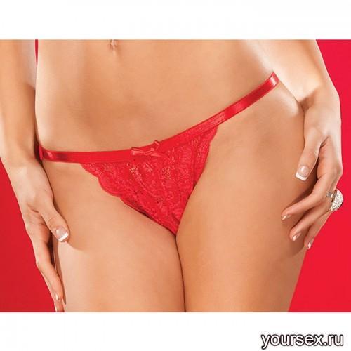 Трусики Coquette Crotchless из гипюра красные, OS XL